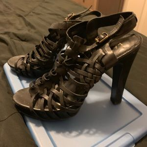 Ralph Lauren Strappy Black Chunky Heels Size 8